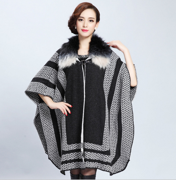 999 New Fashion Winter Spring Autumn Wave Pattern Jacquard long knitted cardigan Shawl Coat Women's Cloak