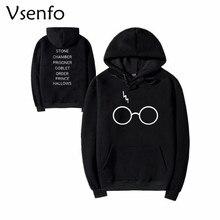 Vsenfo Herbst Winter Männer Frauen Sweatshirt Pull Harry Potter Brille Sweatshirts Langarm Fleece Mit Kapuze Baumwolle Pullover Frauen