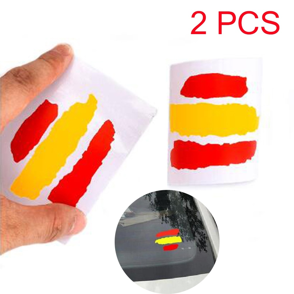 2PCS Spain Flag Car Reflective Sticker Waterproof Car Window Sticker Body Decor Sticker Bumper Sticker(China)