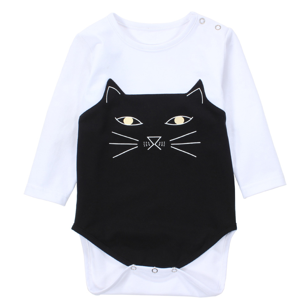 Newborn Baby Clothes Long Sleeve Cotton Cute Cat Printed Baby Rompers Boys Girls Clothing Roupas De Bebe Infant Costumes cotton newborn infant baby boys girls clothes rompers long sleeve cotton jumpsuit clothing baby boy outfits