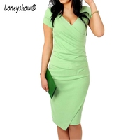 Loneyshow 2017 New Summer Womens Pencil Dresses Asymmetrical Candy Color Sexy V Neck Bodycon Office Elegant