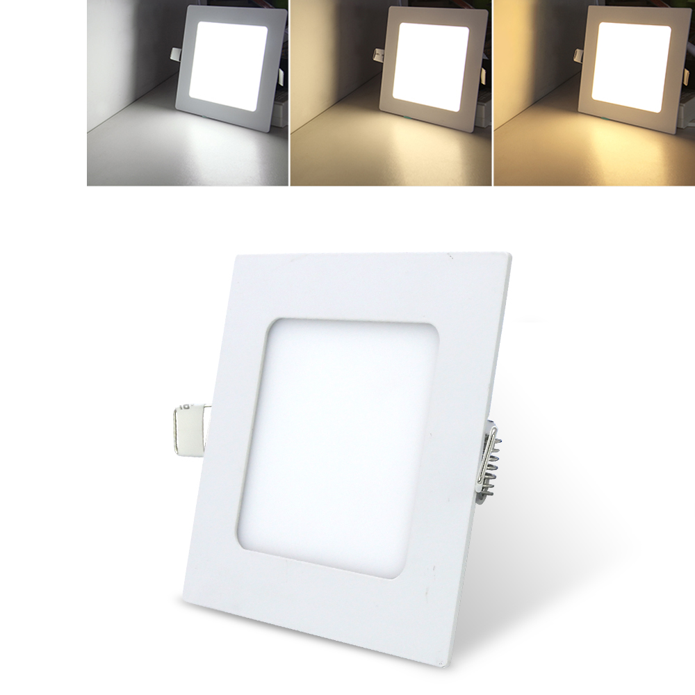 3W Ultra Thin LED Panel Light Recessed Ceiling Panel Lamps Square Color Change Indoor lighting fixture Hallway Kitchen Bedroom