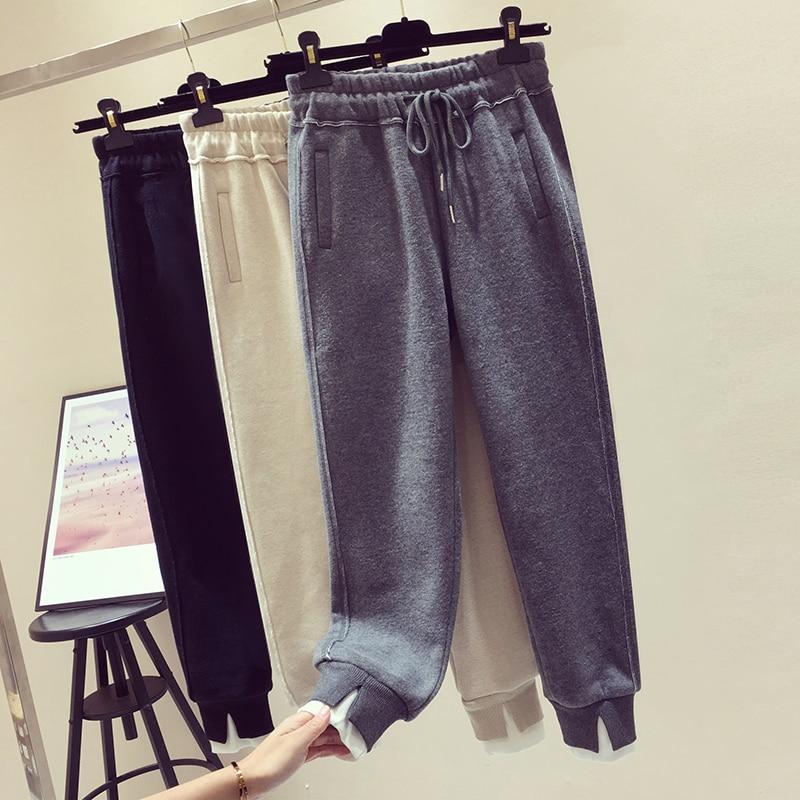 Pantalones Casual Espesar Otoño De Mujeres beige gray 2019 Corriendo Moda Suelto Black Cálido Nuevo Ropa qdIXEWZw