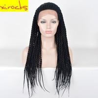 Xi. rocks 33 дюймов Синтетические волосы на кружеве Искусственные парики для черный для женщин синтетическая коробка коса Искусственные парики
