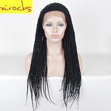 hot deal buy xi.rocks 33 inch lace front wigs for black women synthetic box braid wigs hair long lace front braid wig heat resistant fiber