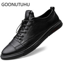2019 new fashion mens shoes casual genuine leather man flats sneakers white or black shoe platform for men size 37-47