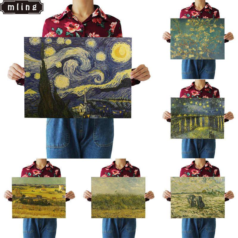 1 Pcs 51.5x36 cm Famoso Vintage Van Gogh Notte Stellata Pittura Poster Retrò Carta Kraft Cafe Complementi Arredo Casa autoadesivo della parete