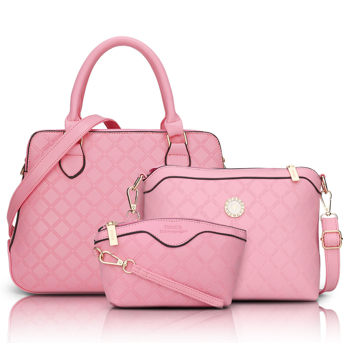 3 Bag/Set  New  Brand Designer Women Bag Plaid Fashion Femal Shoulder Bag High Quality Lady Messenger Bag Pink Color Q5