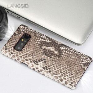 Image 3 - Wangcangli Para Samsung Galaxy S8 caso artesanal de luxo caso capa de Couro Genuíno caso de telefone de pele python verdadeiro