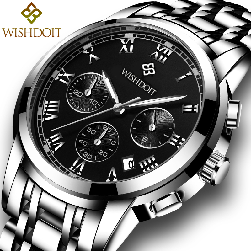 Relogio masculino WISHDOIT Mens Watches Top Brand Luxury Fashion Business Quartz Watch Men Sport All Steel Waterproof Wristwatch baosaili fashion casual mens watches top brand luxury leather business quartz watch men wristwatch relogio masculino bs1038