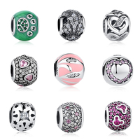 Best GIFT Charms DIY Jewelry Fit Original Bracelet 925 Sterling Silver With Mixed Pink CZ White