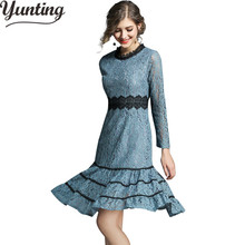 ФОТО lace dresses women fashion hollow out sexy patchwork vintage sping work casual party dress plus size vestidos