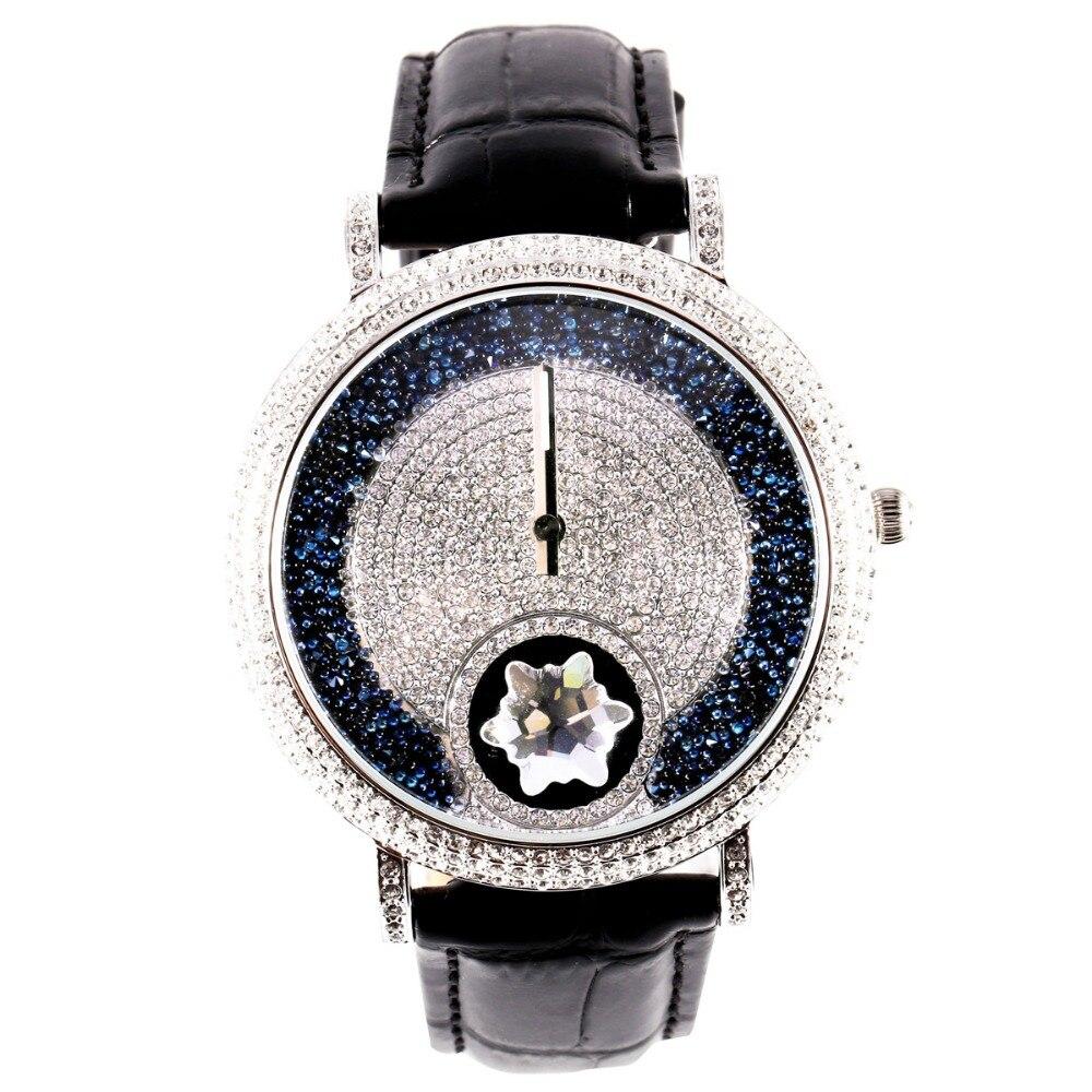 MATISSE Lady Vogue Full Crystal Leather Strap Fashion Quartz Watch Wristwatch Black