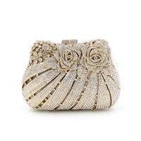 Hot New Elegant Rhinestone Flower Shpaed Women Evening Bag Fashion Ladies Party Handbags Ladies Shoulder Bag