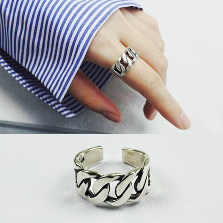 Bijoux Vintage Silver Color Chain Rings For Girl Ladies Adjustable Size Statement Ring Wedding Party Jewelry Anillos 4