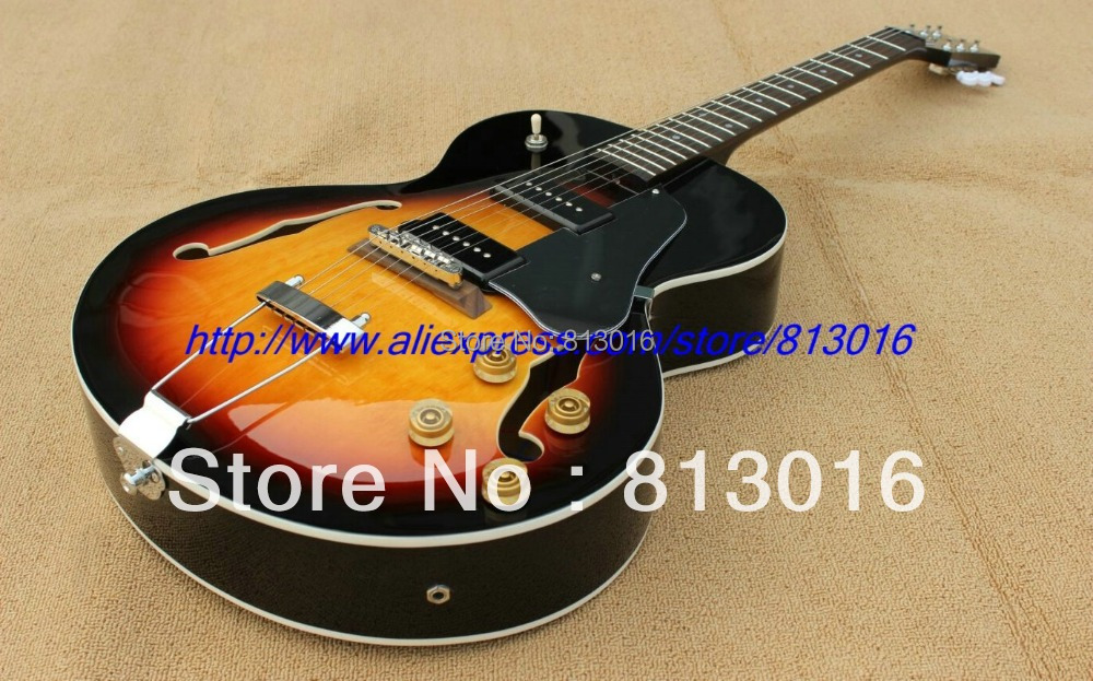 NEW 1946-1949 Archtop Guitar, Sunburst ES125 Electric Guitar  with HH pickup+chrome hardware! Free shipping! wholeslale dave grohl dg335 es 335 6 string electric guitar with great logo es 335 in white 100913