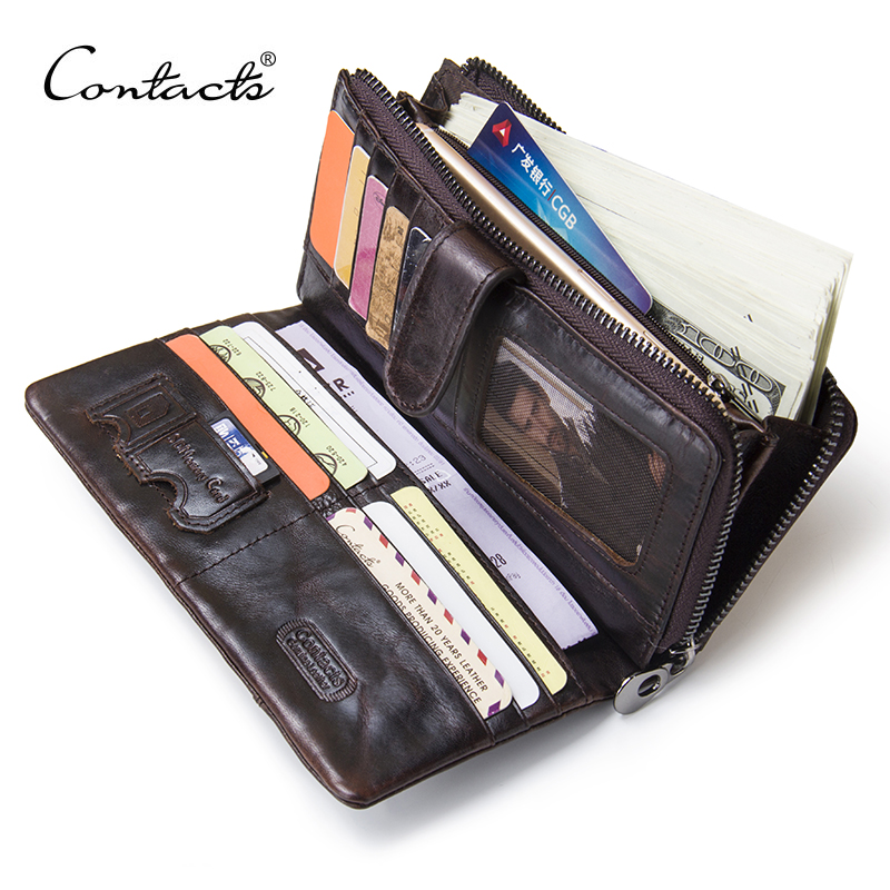 CONTACT'S Genuine Leather Men Wallets High Quality Long Clutch Wallet Design Card Holder Purse Bag Coin Pockets Famous Brand vintage genuine leather wallets men fashion cowhide wallet 2017 high quality coin purse long zipper clutch large capacity bag