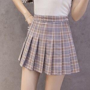 Image 2 - Thời Trang Mùa Hè Hàn Quốc Cao Cấp Váy Nữ Nữ Sinh Xếp Ly Chân Váy Có Quần Đỏ Gợi Cảm Dây Kéo Mini Váy Kẻ Sọc Faldas