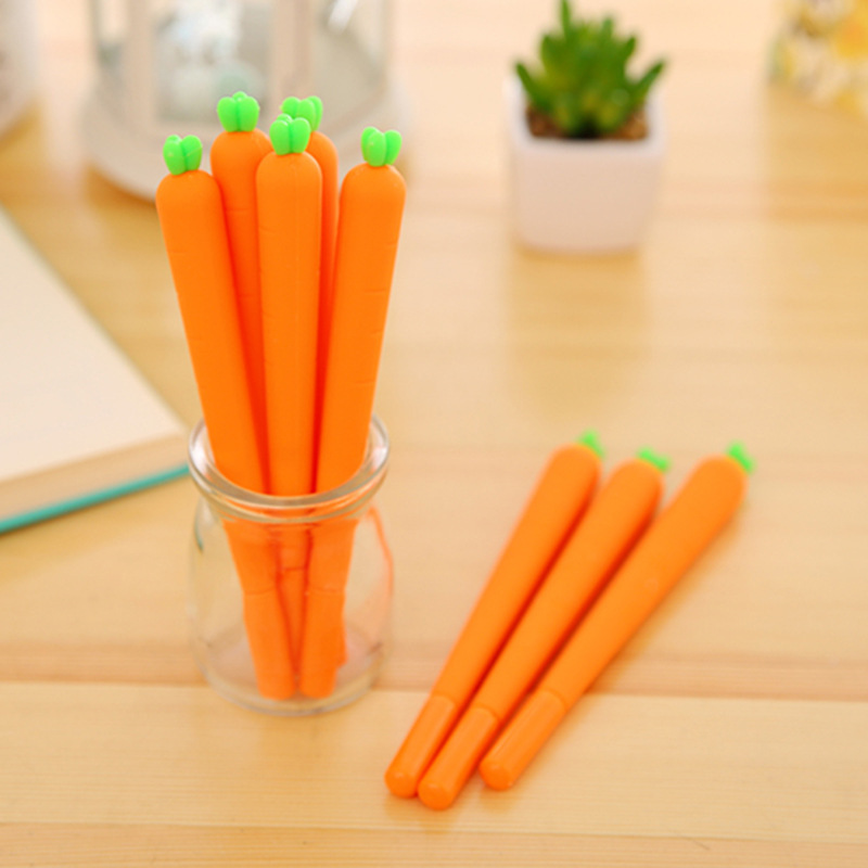 Cute carrot modeling student pen school Korea stationery writing pen office supplies learning supplies gel pen free shipping student attitude towards web based learning resources