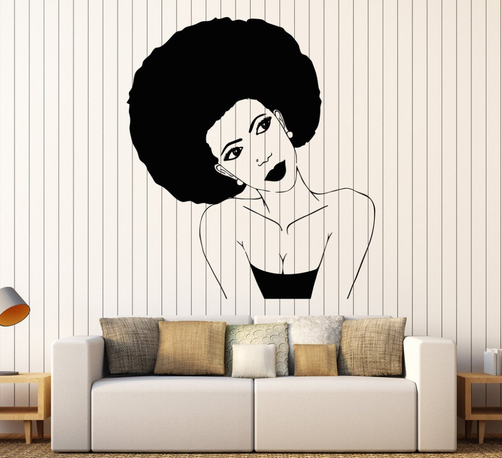 Afro hairstyle vinyl wall stickers black african woman hair afro hairstyle vinyl wall stickers black african woman hair stylist salon beauty sticker personality design wallpaper sa252 in wall stickers from home amipublicfo Choice Image