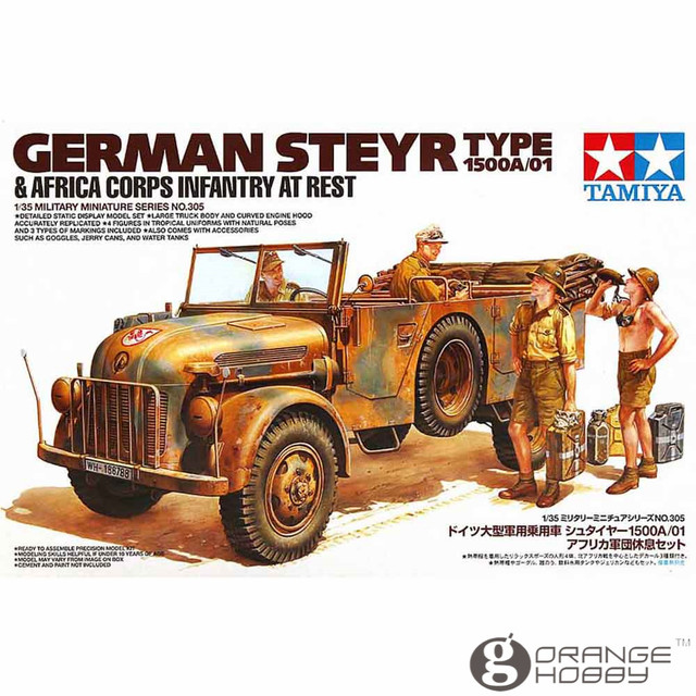 f67dcf5732ee78 Tamiya 35305 1 35 German Steyr Type 1500A 01 and Africa Corps Infantry At  Rest Military Assembly AFV Model Building Kits. Anniversary Sale ...