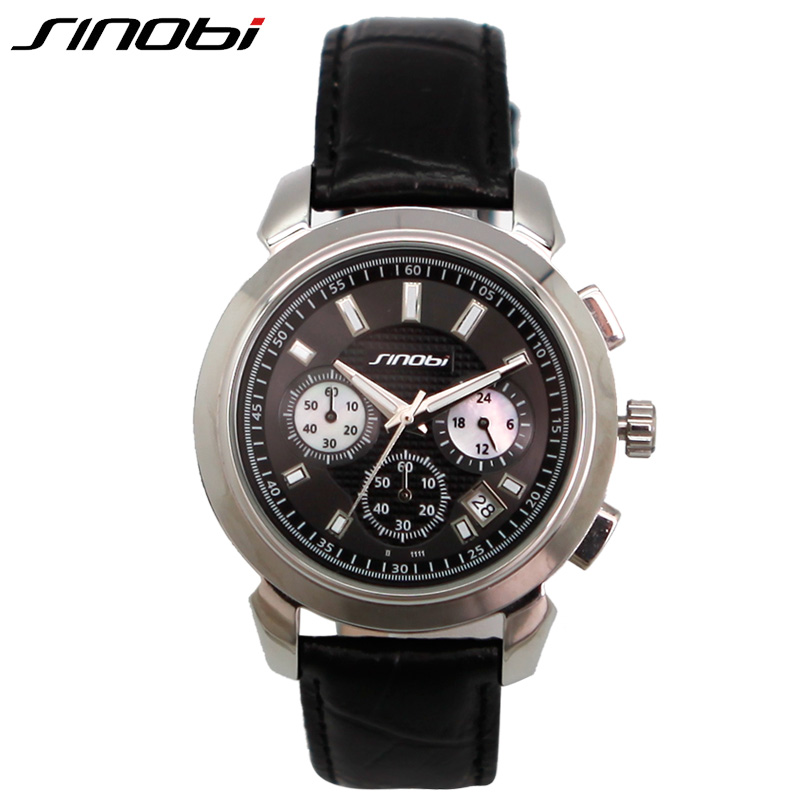 SINOBI Genuine Leather Strap Watches Men Complete Calendar Multifunction Watch Man Seconds Display Time Dial Relojes Hombre 2018 ce laser physiotherapy 650nm diode laser light low level laser therapy lllt for diabetes hypertension high blood treatment watch