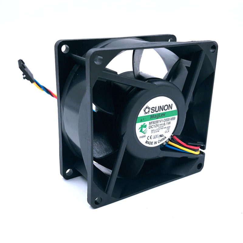 H814N-A00 Free Shipping For SUNON MF80381V1-D000-M99 DC 12V 6.1W 4-wire 4-pin Connector 80mm 80x80x38mm Server Square Cooling Fa
