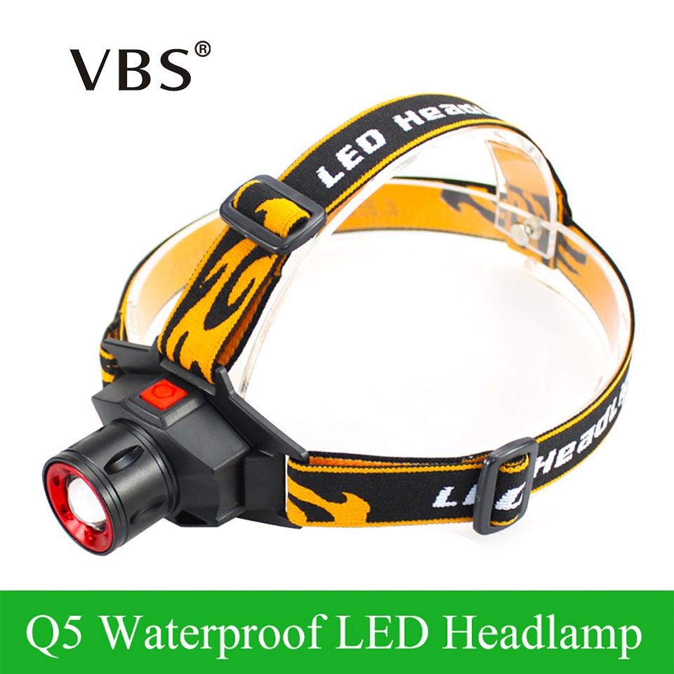 LED Headlamp Cree Q5 Headlight Waterproof Built-in Lithium Battery Rechargeable Head lamp 3 Modes Zoomable Flashlight + Charger стоимость