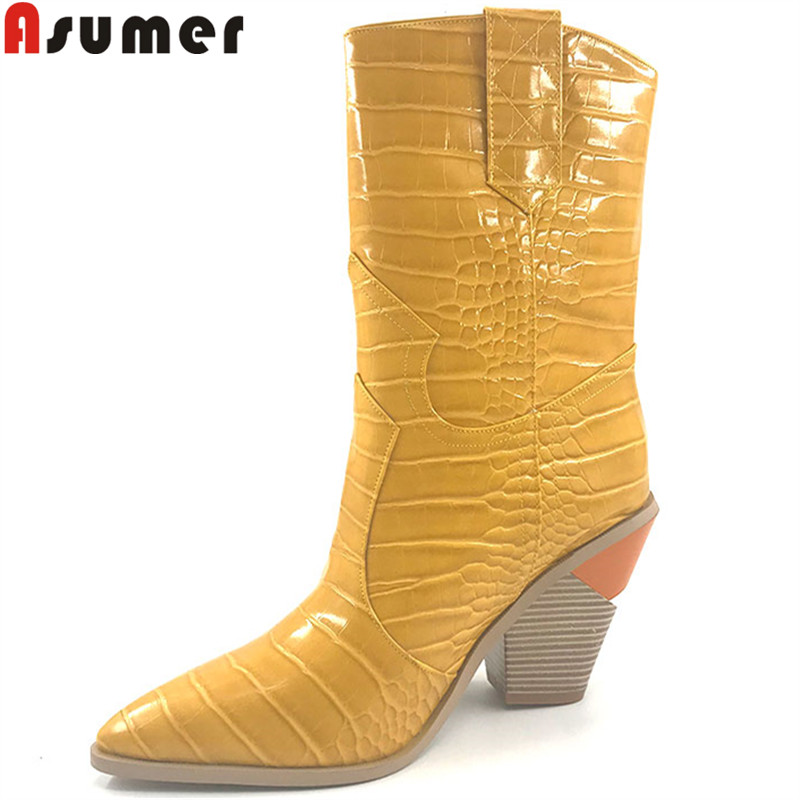 ASUMER big size fashion mid calf boots women pointed toe slip on wedges high heels shoes