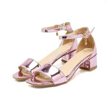 2016 Summer Style Women's Ankle Strap Patent Leather Sandals Shoes Woman Office Shoes Low Heels Big Size 34-43