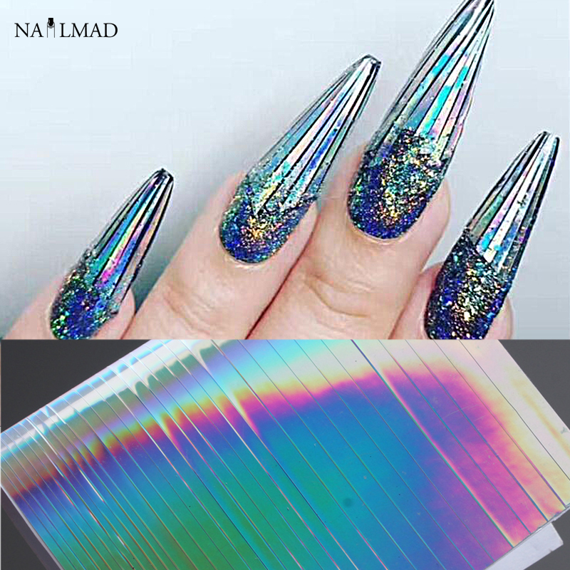 1 sheet NailMAD Holo Nail Art Stickers Ultra Thin Laser Sticker Silver Stripe Line Nail Strip Tape DIY Foil Decals Nail Art Tips 10 color 20m rolls nail art uv gel tips striping tape line sticker diy decoration 03ik