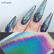 1 sheet NailMAD Holo Nail Art Stickers Ultra Thin Laser Sticker Silver Stripe Line Nail Strip Tape DIY Foil Decals Nail Art Tips