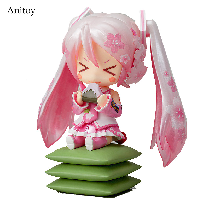 Anime Cute Nendoroid 4 Hatsune Miku 274# Sakura Miku PVC Action Figure Collectible Model Toy Doll 10CM KT092 21 5cm hatsune miku pvc action action figure japan animation figma standed collectibles toy hatsune miku anime model otaku f
