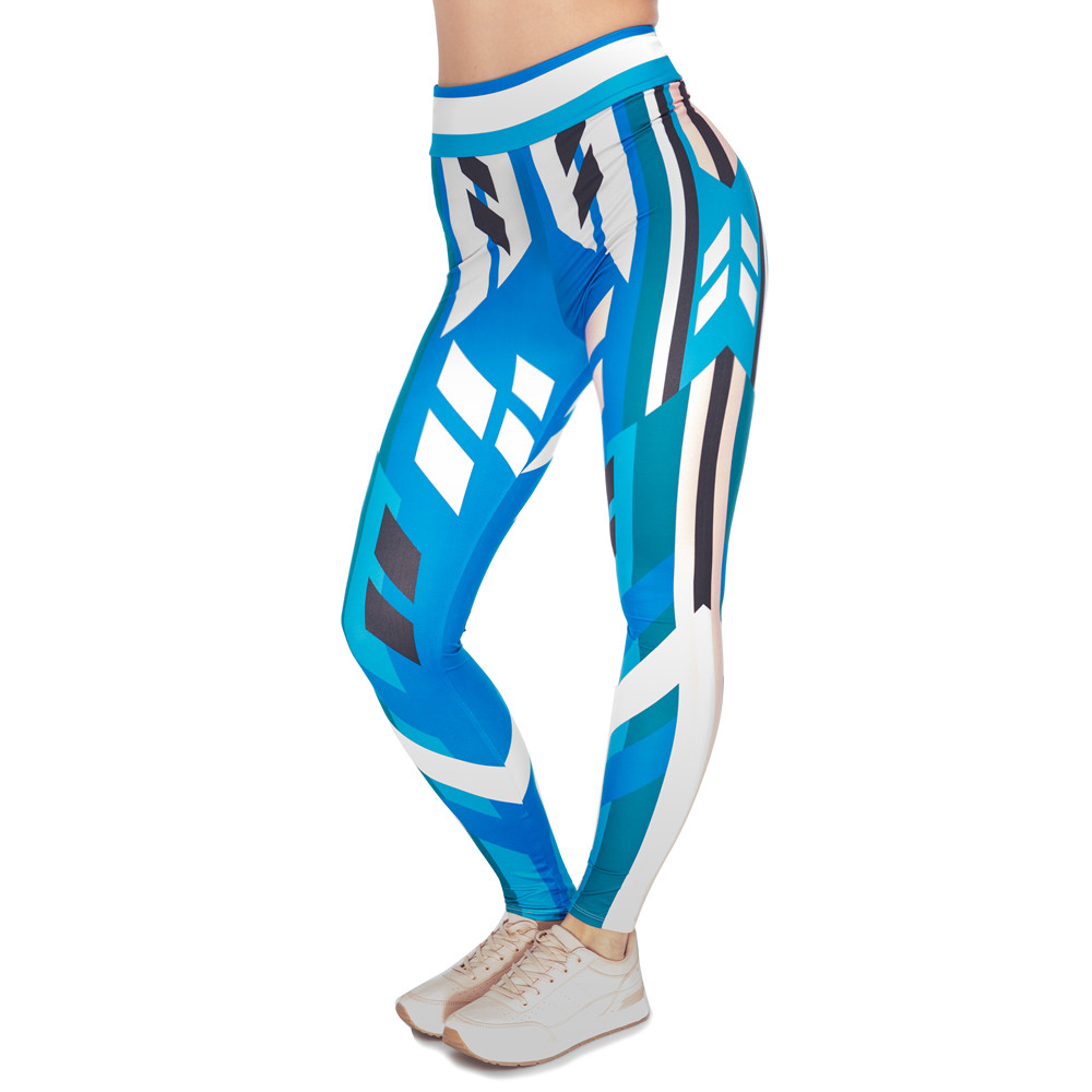 Unique Design Women High Waist Legging Cornflower Printing Blue Leggings Woman Fitness Pants