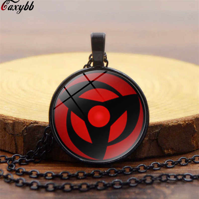 Handmade Anime Naruto Sharingan Eye Pendant Glass Dome Jewelry Silver Necklace Uchiha Obito Kakashi Mangekyou Cosplay Gift