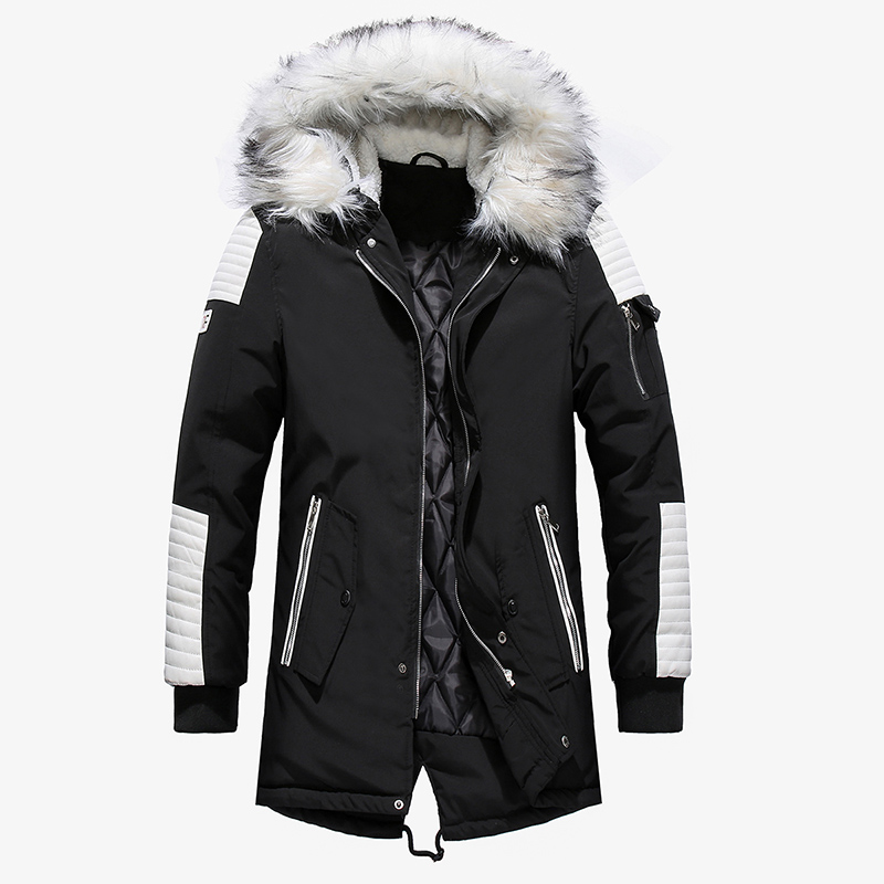 Winter Long Jacket Men Fashion Fur Collar Hooded Parkas Mens Casual Thick Warm Windproof Hoodies Brand Clothing Outwear Coat