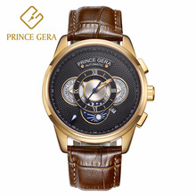 PRINCE GERA Rose Gold Men's Waterproof Automatic Casual Watches Calfskin Black Brown Leather Straps Calendar цена 2017