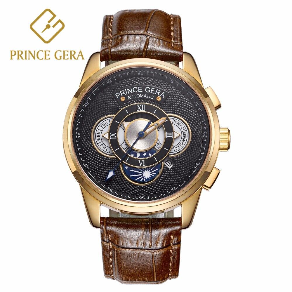 PRINCE GERA montre mécanique hommes luxe 18 K or trois cadran avec calendrier automatique montres pour hommes montre en cuir véritable pour hommes