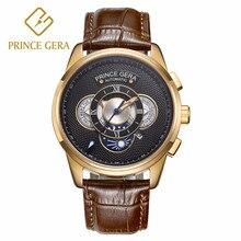 PRINCE GERA reloj mecánico de lujo para hombre y mujer, cronógrafo automático con tres Dial, masculino