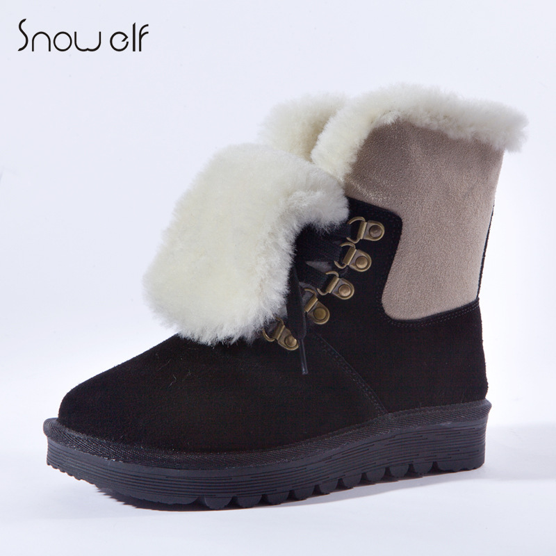 2015 New Women Winter Flats Chunky Heel Genuine Leather Round Toe Lace Up Fashion Ankle Warm Snow Boots Size 35-39 SXQ0818 front lace up casual ankle boots autumn vintage brown new booties flat genuine leather suede shoes round toe fall female fashion