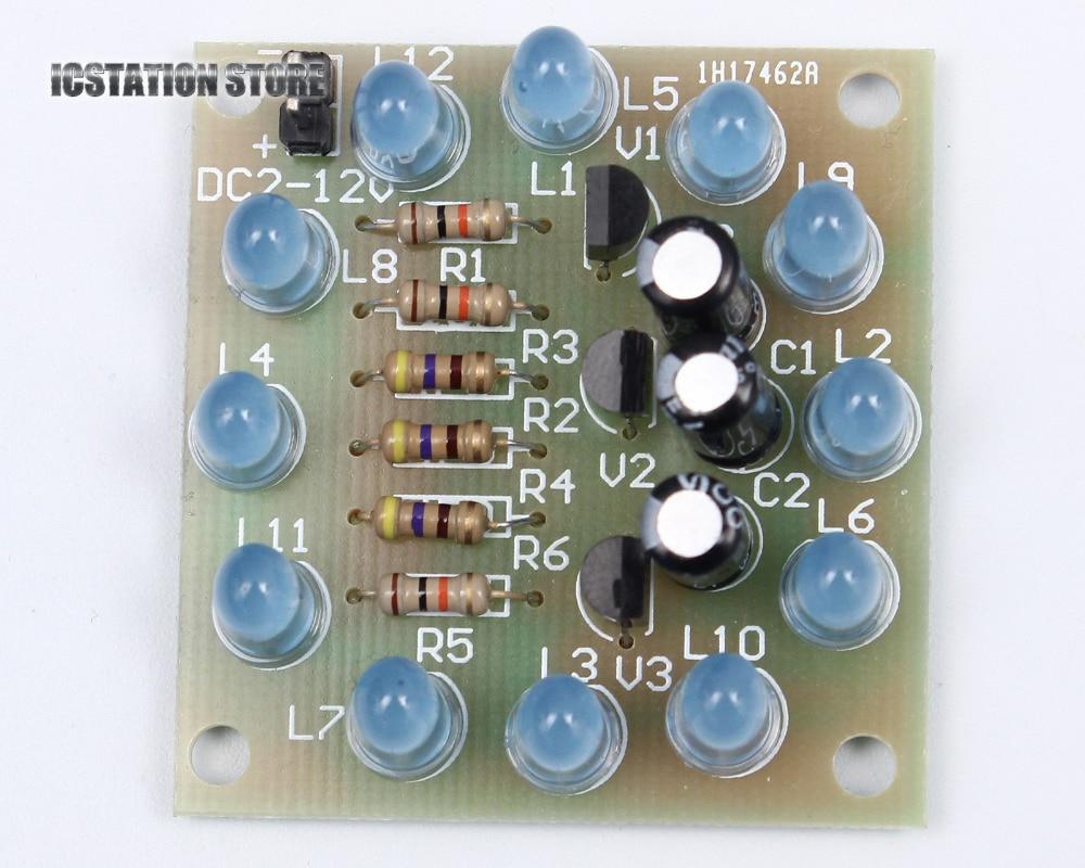 Circular Lamp Suite 12PCS LED Blue DIY Kit Electronic Production DIY suite francaise