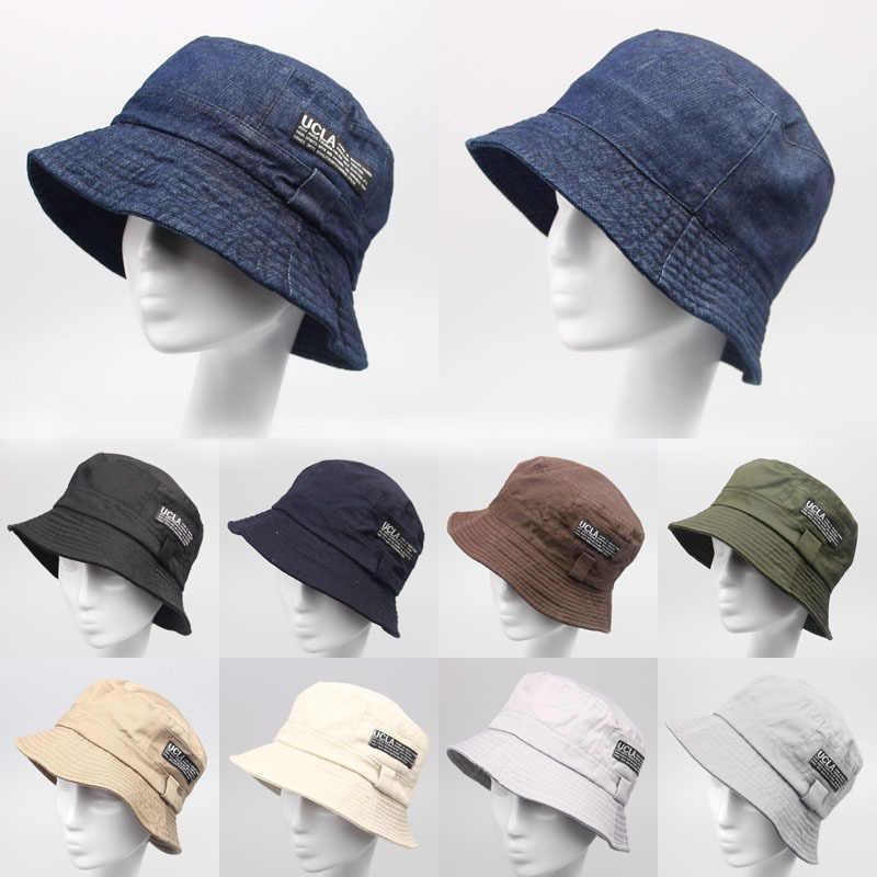Хлопок Деним Панамка унисекс шапки 2015 новая мода лето Рыбалка без каблука  кепки для мужчин 7eb7c2ab8bc