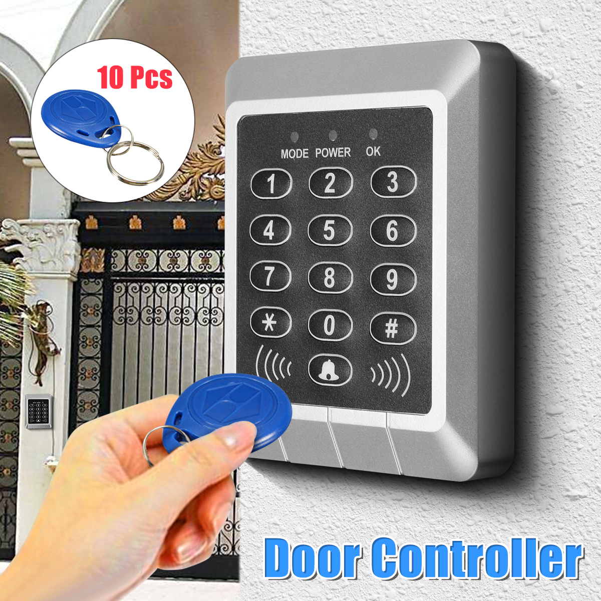 Waterproof Plastic Automatic Multifunction 10 Key Card Safely Security Button Type IC Card Access Entrance Guard Controller mjk 100 entrance guard inductive id key card black 100 pcs