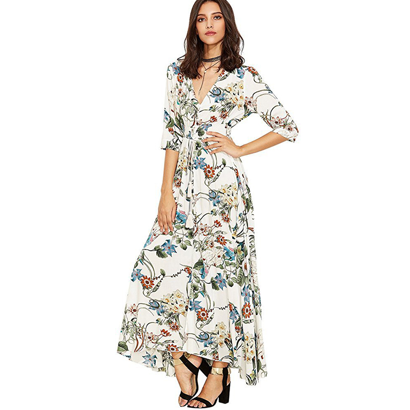 2018 New Women Fashion Maxi Dress Short Sleeve Long Summer Floral Print Dresses Casual Ladies Sexy Party Beach Dress MLD1026