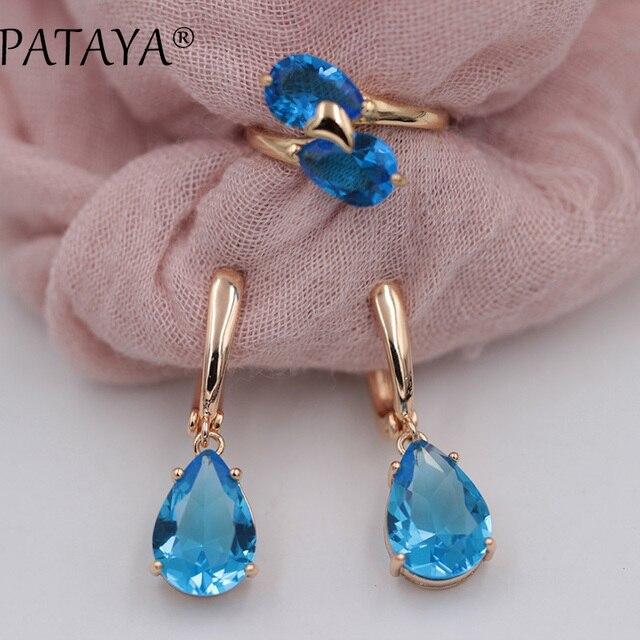 PATAYA New Arrivals Women Wedding Romantic Jewelry Blue Water Drop Natural Zirconia Earrings Ring Sets 585 Rose Gold Jewelry Set
