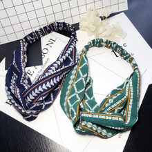 Bohemian Style Elastic Headbands Boho Cross Floral Turban Girls Flower Hairbands Striped Headwrap Hair Accessories For Women
