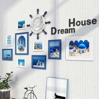 Creative Design Elegant Wall Hanging Photo Frames Set 9pcs Wooden Picture Frames Hallway Sofa Bedroom Wall Decor Photo Frame