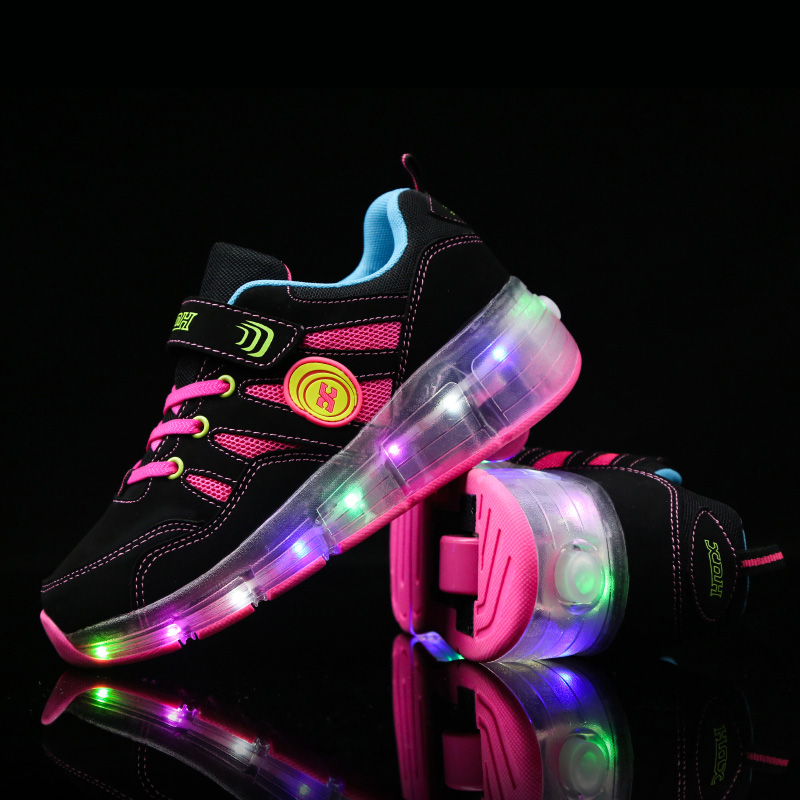 Children Wheels Glowing Sneakers Fashion Boys Girls Luminous Heelys Led Light Shoes Kids Casual Shoes72 children usb charger luminous shoes lace boys girls led light sneakers fashion kids night show casual shoes brand