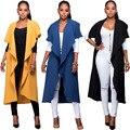 2016 Queda Nova moda Preto Lapela Tie Cintura Longa Vala casaco para as mulheres manto Ocasional Das Senhoras Sem Mangas Outerwear plus size cape
