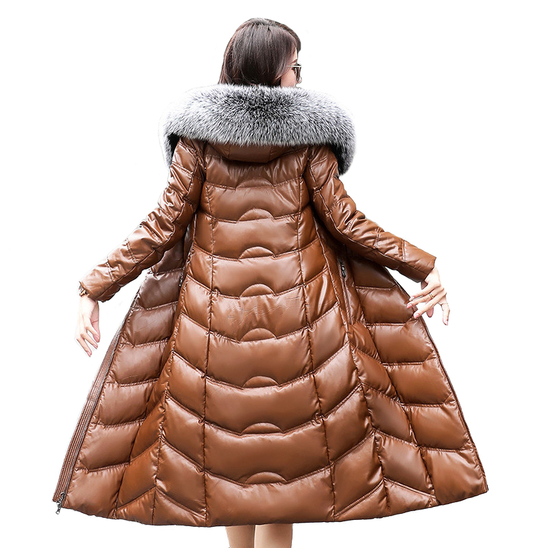 5bc3bad2d US $136.66 51% OFF|High quality Winter Women Sheep Leather Down Jacket 2019  Big fox fur collar Hooded Coat Female Plus size Thicken Warm Long Coats-in  ...